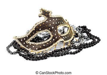 carnaval, máscara, com, pretas, e, prata,...