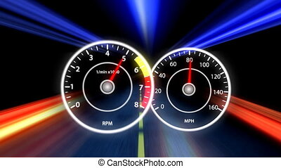 High Speed. - The Dashboard of a sports car in motion.