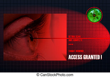 Retina Scan - Security Concept: Retina Scan for security and...