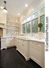 Contemporary kitchen with white cabinetry - Close up of...
