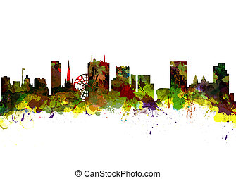 Birmingham UK City Skyline - Watercolor art print of the...