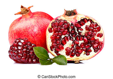 Grenadine - A whole and a half-cutted pomegranate with red...