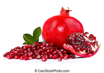 Pomegranate with seeds - Fresh pomegranate with seeds in the...