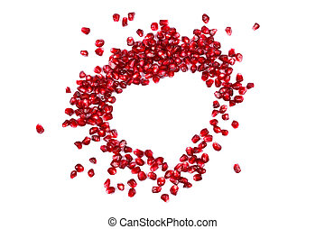 Grenadine love - Seeds of grenadine in shape of heart,...