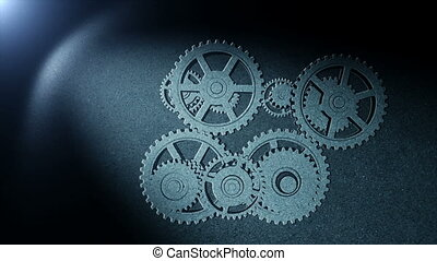 Gears drawing in spot of light