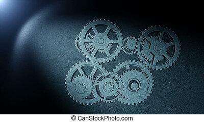 Gears drawing  in spot of light