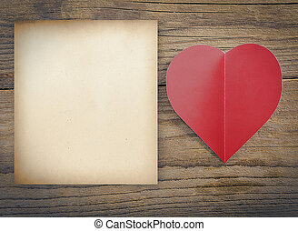 Valentines Day concept - Red heart with sheet of paper on a...
