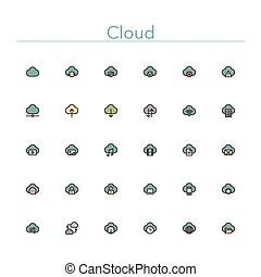 Cloud Colored Line Icons - Cloud and Server colored line...