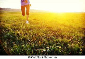 corredor, atleta, pernas, Executando