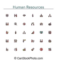 Human Resources Colored Line Icons - Human resources colored...