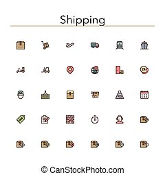 Shipping Colored Line Icons - Shipping and delivery colored...