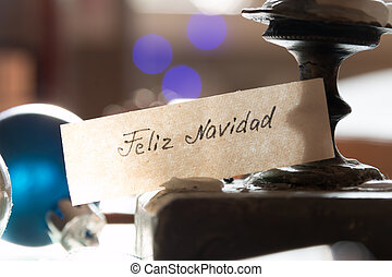 Feliz Navidad - Merry Christmas spanish text