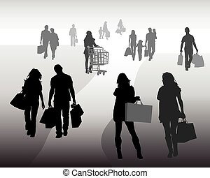 shopping 3 - Silhouettes of shopping, vector