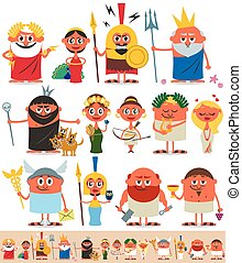 Greek Roman Pantheon - Set of cartoon Greek Roman gods over...