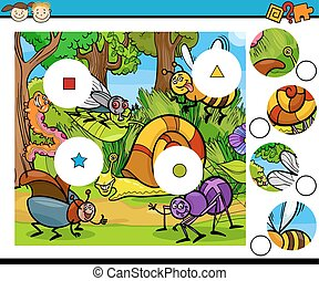 match pieces game cartoon - Cartoon Illustration of Match...