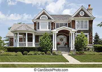 Suburban home with white columns - Suburban home with...