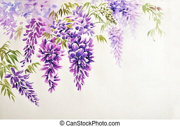 Wisteria blossom - Original watercolor painting of beautiful...