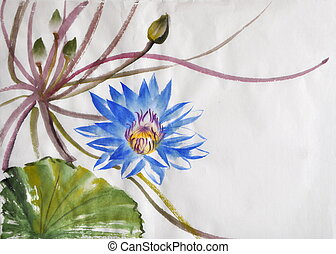 Nymphea flower watercolor painting - Blue Nymphea lotus...