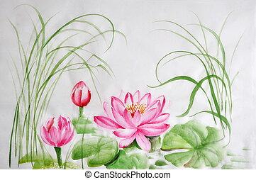 loto, flor, acuarela, Pintura,