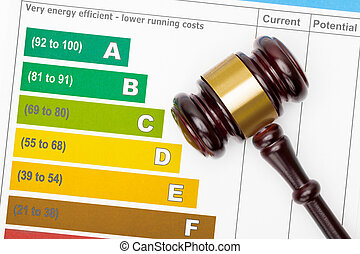 Wooden judge gavel over efficiency chart - view from top