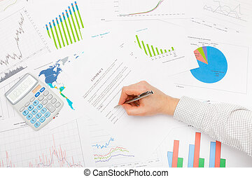 Business man working with financial data - signing contract with pen