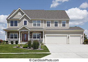 Suburban home with double garage - Suburban home with beige...