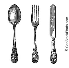 Vintage cutlery - Antique style engraving of cutlery, spoon,...