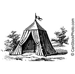 Antique style engraving of a military tent in a battle field