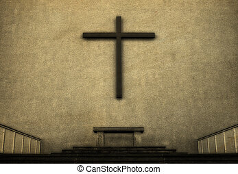 Cross on exterior wall of Cathedral, vintage look