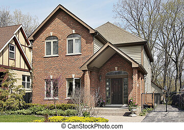 Brick home in suburbs