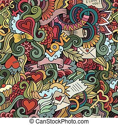 Doodles Love vector seamless pattern - Doodles abstract...
