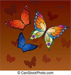 flying butterflies - Flying bright butterflies resemble the...