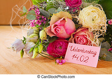 Valentines Day card . - Roses bouquet and Valentines Day...