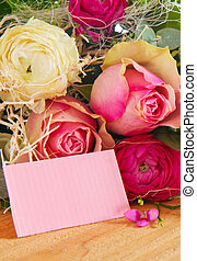 Birthday card. - Roses bouquet and pink notice.Birthday...
