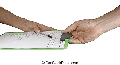 Handing over form to a client - Female therapist handing...