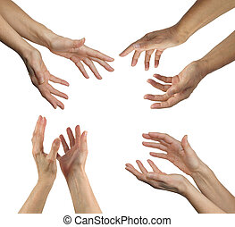 Healers hands in four positions - Female healers hands...