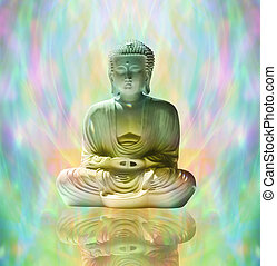 Buddha in peaceful meditation - Statue of Buddha in lotus...