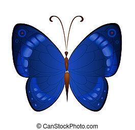 Vector dark blue butterflies - Bright butterfly for...