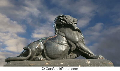 Sculpture of a lion in Barcelona - Sculpture of a lion near...