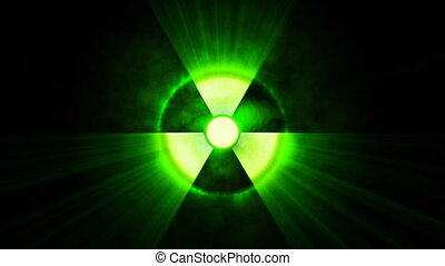 Radioactive danger symbol with a shine on black background