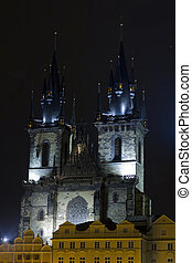 Lady Before Tyn at night Czech Republic