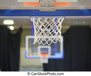 two baskets in basketball court - basketball hoop NET and...