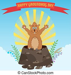 Happy Groundhog Day. Holiday illustration with cute and...
