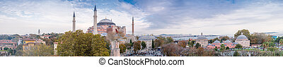 Panoramic aerial view of Hagia Sophia in Istanbul.