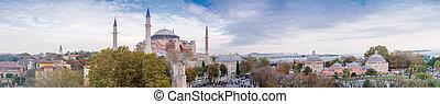 Panoramic aerial view of Hagia Sophia in Istanbul.
