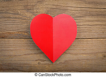 Happy Valentines Day - Red heart with sheet of paper on a...