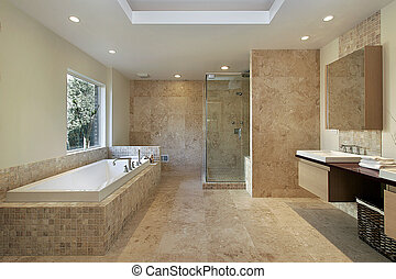 Master bath in new construction home - Modern master bath...