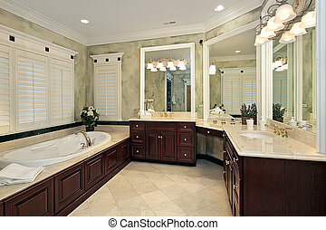 Luxury master bath with cherry wood cabinetry