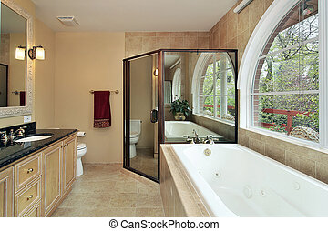 Master bath with arched window - Master bath in suburban...