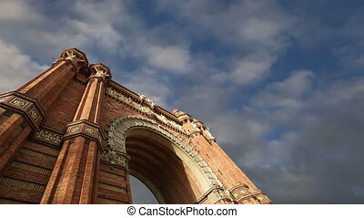 Arc de Triomf, Barcelona, Spain time lapse